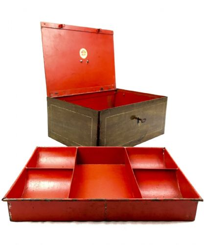 Antique Metal Strong Box / Cash Tin / Safe - Alarmed - Large / Red / Brown